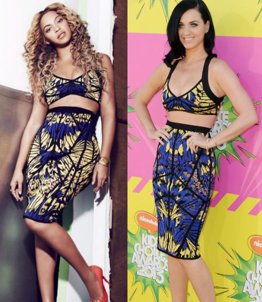 Beyonce and Katy Perry in Herve Leger