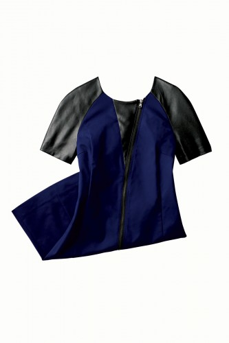 faux leather sleeves