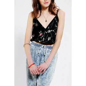 Urban Outfitters Urban Renewal Cropped Surplice Tank Top $39.00