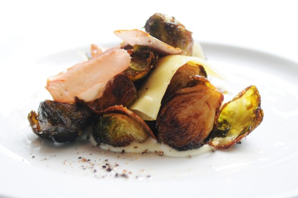 Vai-Iberico-lomo-ham-with-brussel-sprouts-piave-cheese-and-Yukon-potato-crema