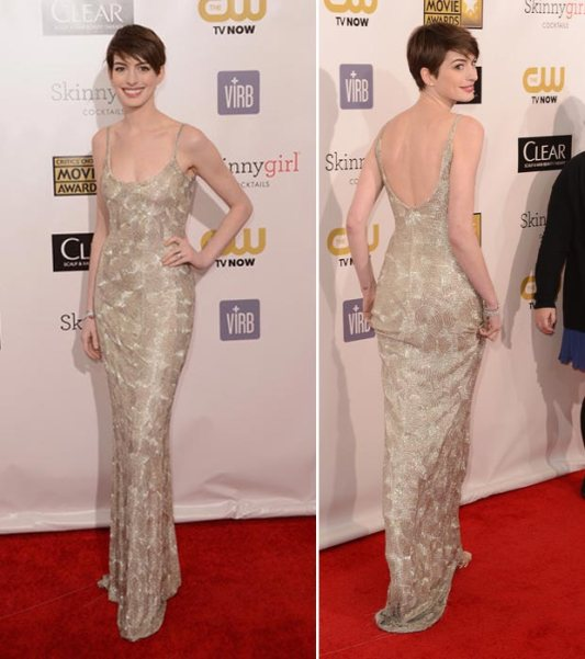 anne-hathaway-sequined-oscar-de-la-renta-dress-critics-choice-awards-2013