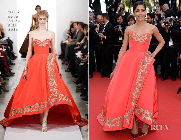 Freida-Pinto-In-Oscar-de-la-Renta-The-Homesman-Cannes-Film-Festival-Premiere
