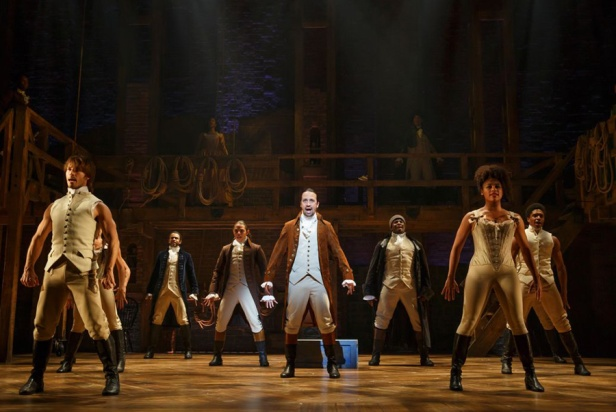 Lin-Manuel-Miranda-center-with-the-cast-of-Hamilton